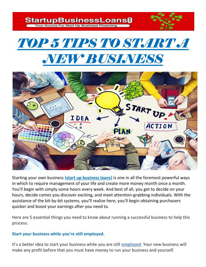 TOP 5 TIPS TO START A