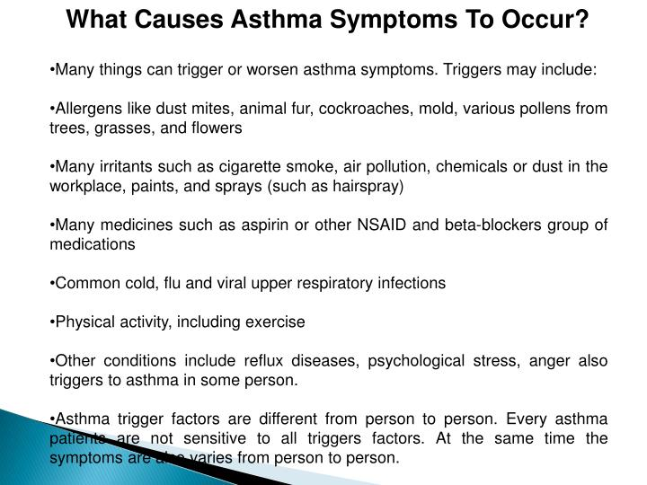 What Causes Asthma Symptoms To Occur?