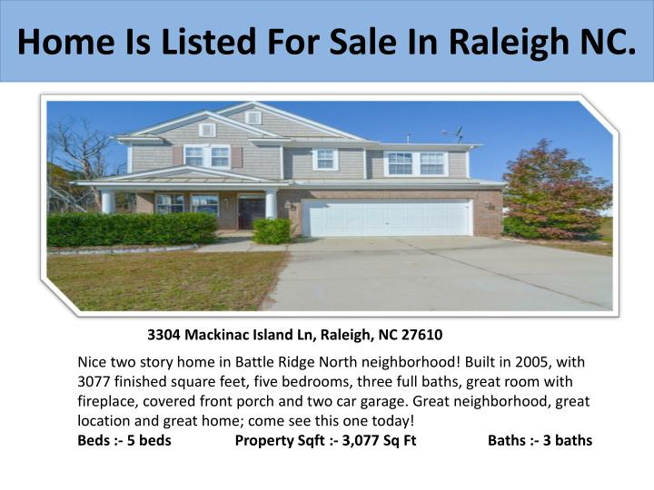 Home is listed for sale in raleigh nc