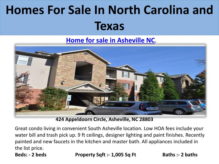 Homes for sale in north carolina and texas