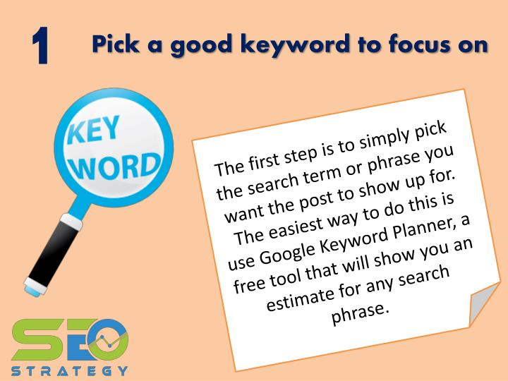 Pick a good keyword to focus on