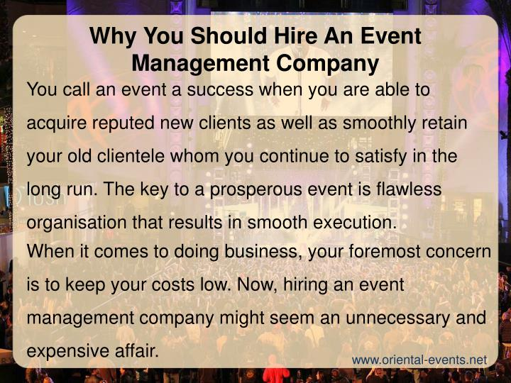 Why You Should Hire An Event Management Company