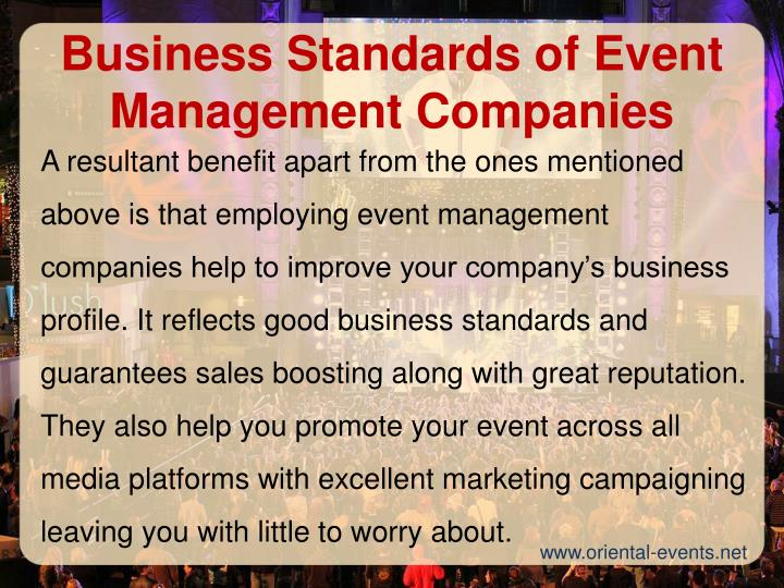 Business Standards of Event Management Companies