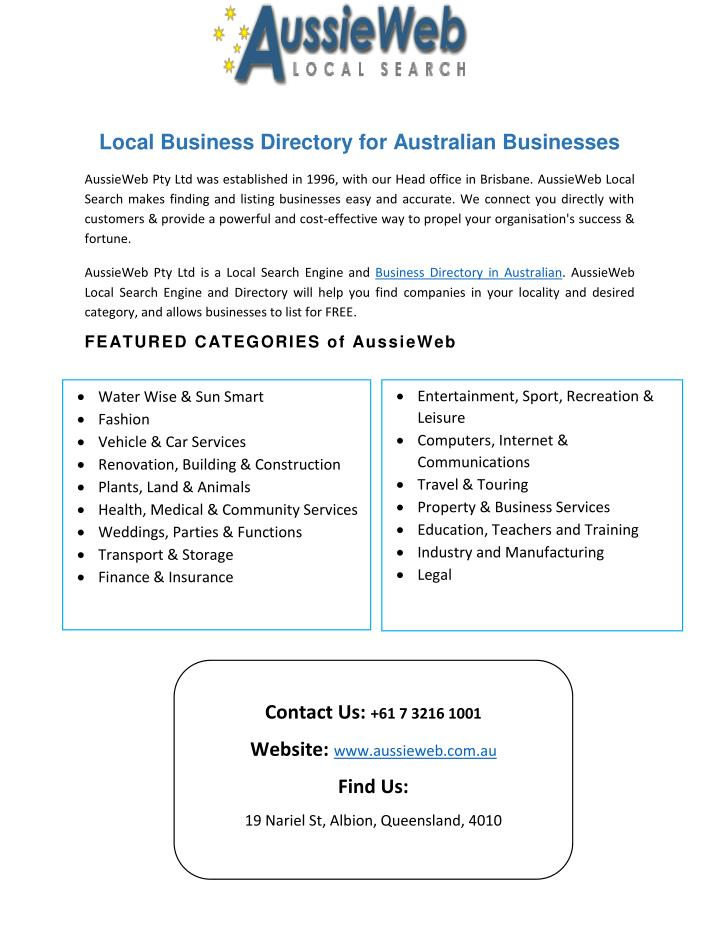 Local Business Directory for Australian Businesses