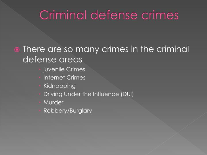 Criminal defense crimes