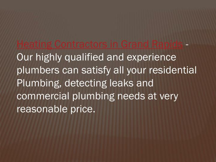 Heating Contractors in Grand Rapids