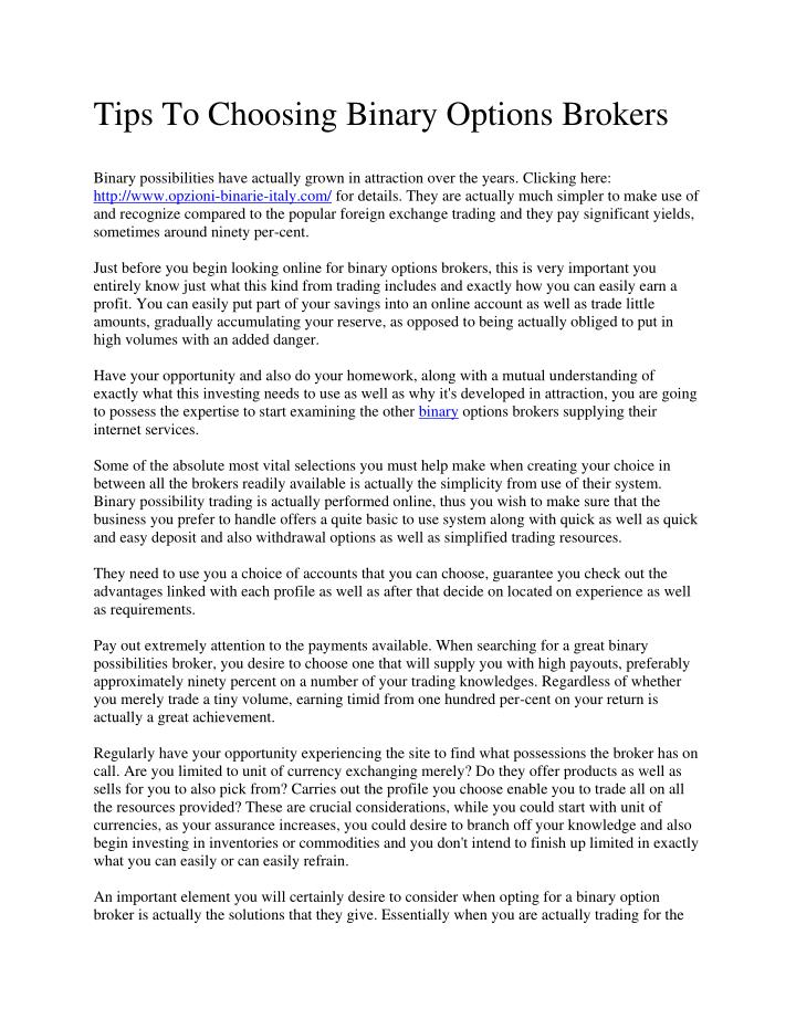 Tips To Choosing Binary Options Brokers