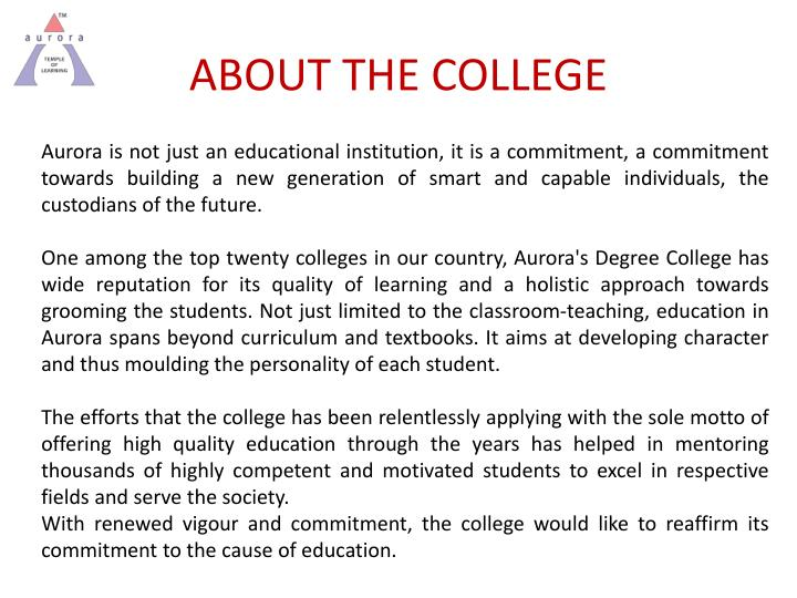 About the college