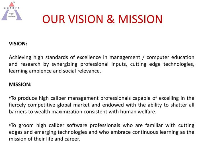 OUR VISION & MISSION