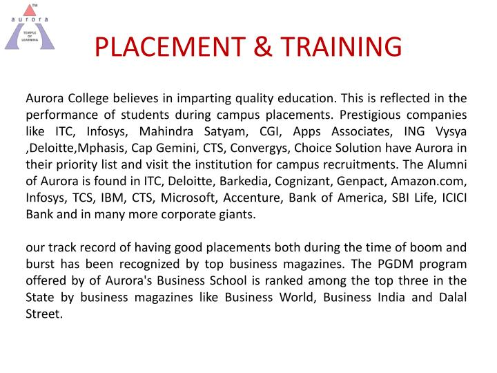 PLACEMENT & TRAINING