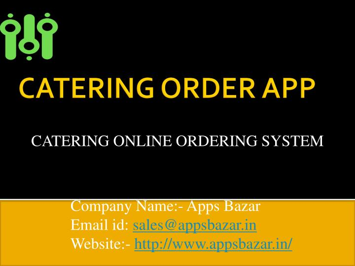 Catering online ordering system