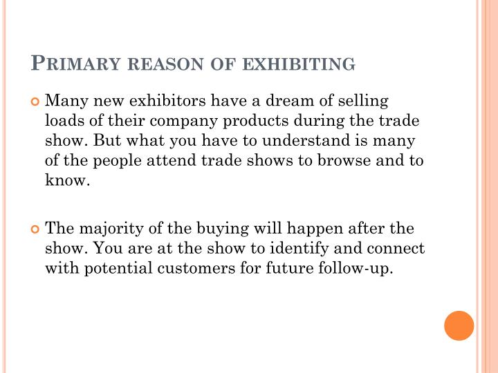 Primary reason of exhibiting