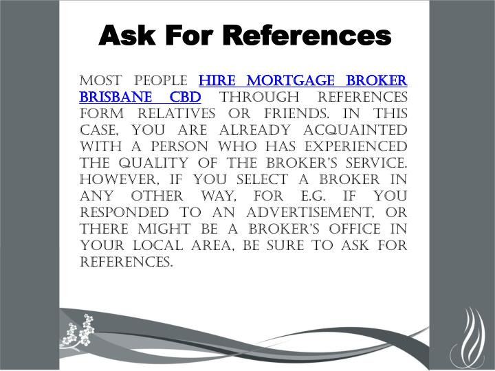 Ask For References