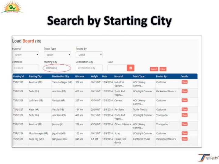 Search by Starting City