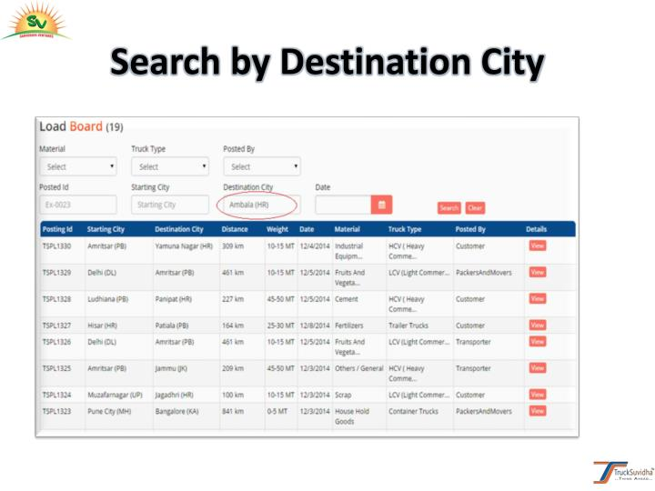 Search by Destination City