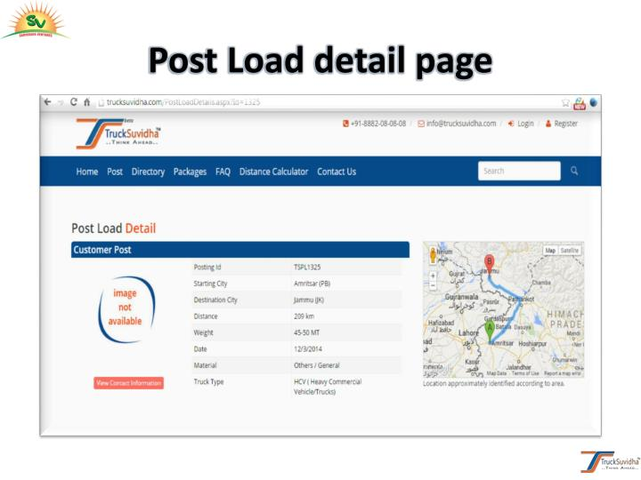Post Load detail page