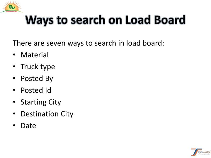 Ways to search on Load Board