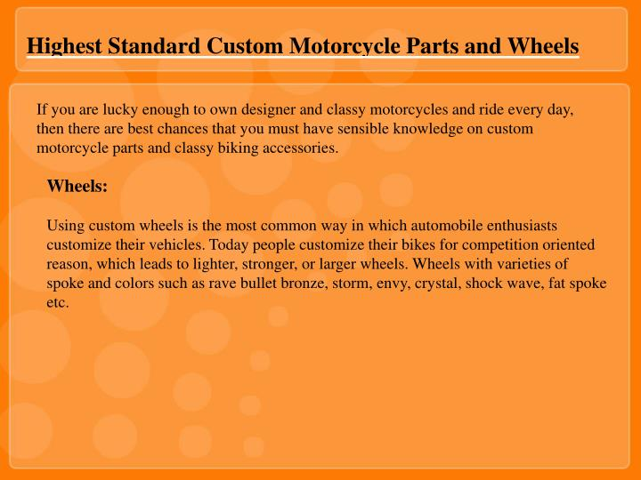 Highest Standard Custom Motorcycle Parts and Wheels