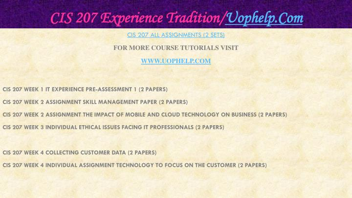 Cis 207 experience tradition uophelp com1