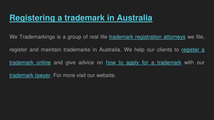 Registering a trademark in Australia