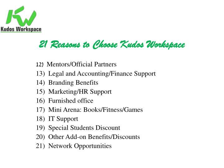 21 Reasons to Choose Kudos Workspace
