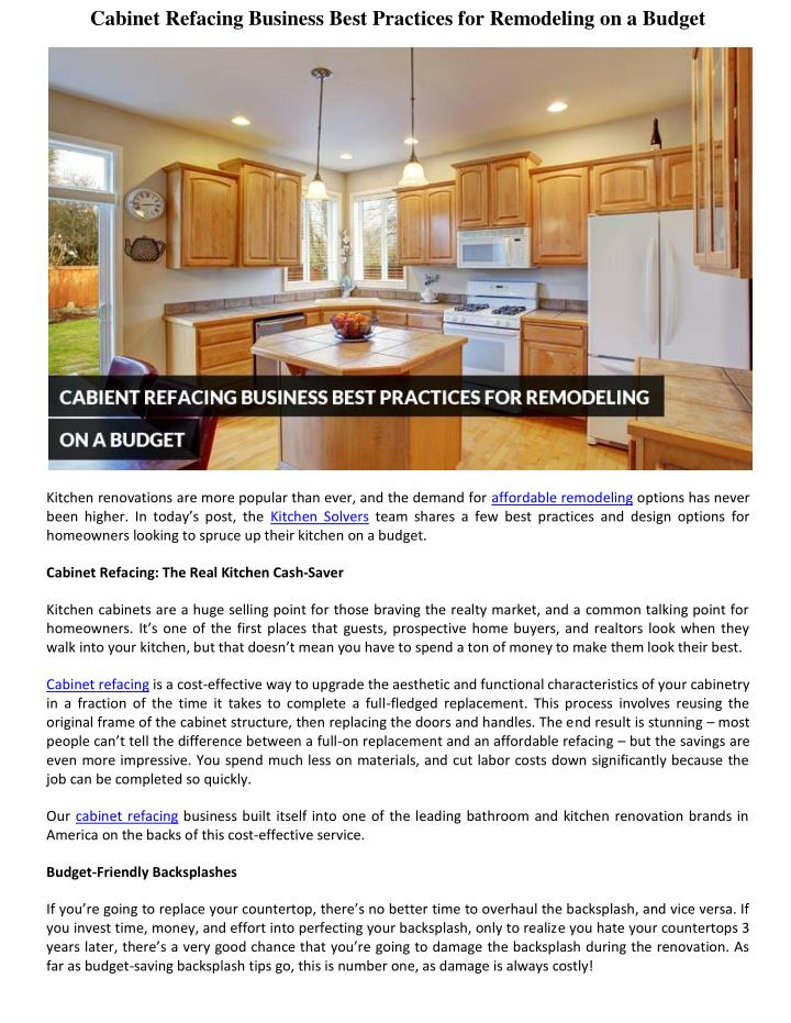 Cabinet Refacing Business Best Practices for Remodeling on a Budget