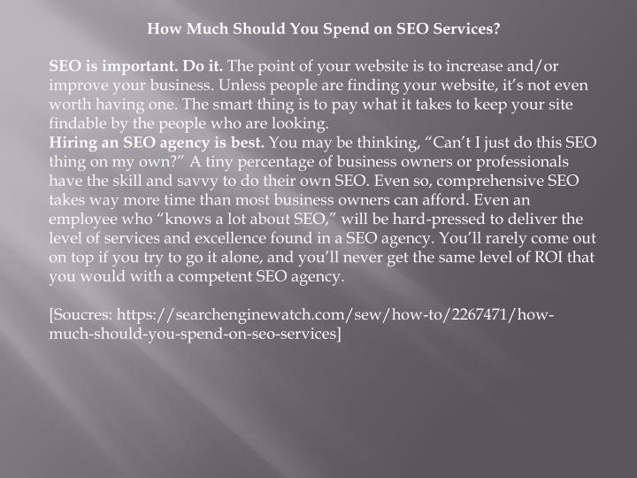 How Much Should You Spend on SEO Services?