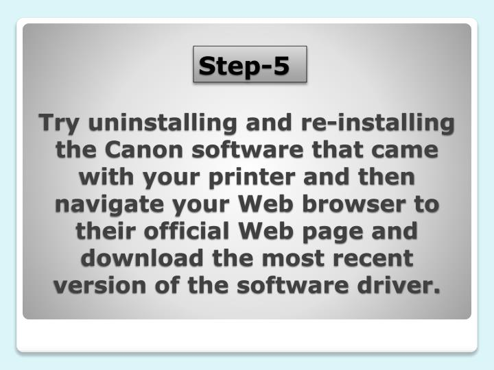 Try uninstalling and re-installing the Canon software that came with your printer and then navigate your Web browser to their official Web page and download the most recent version of the software driver.