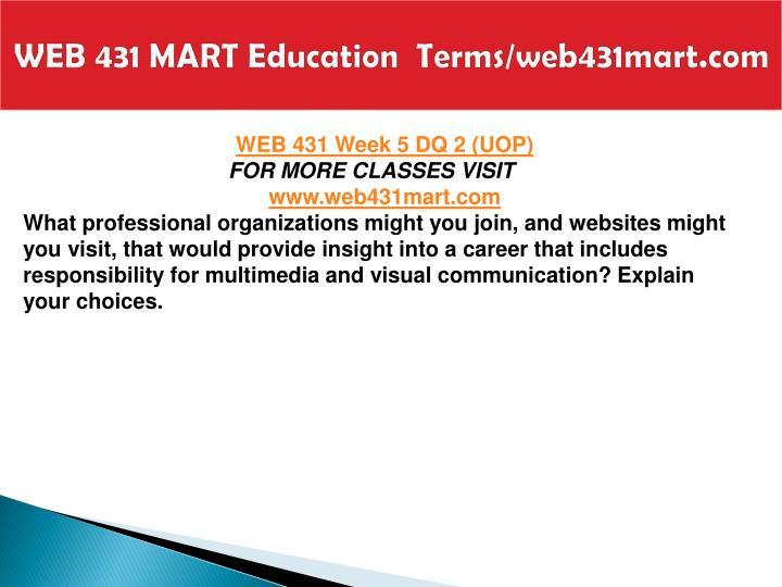WEB 431 MART Education