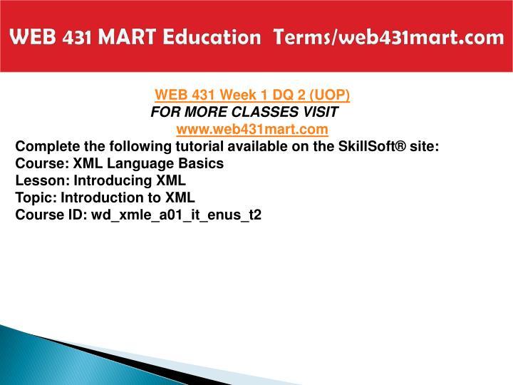 WEB 431 MART Education  Terms/web431mart.com