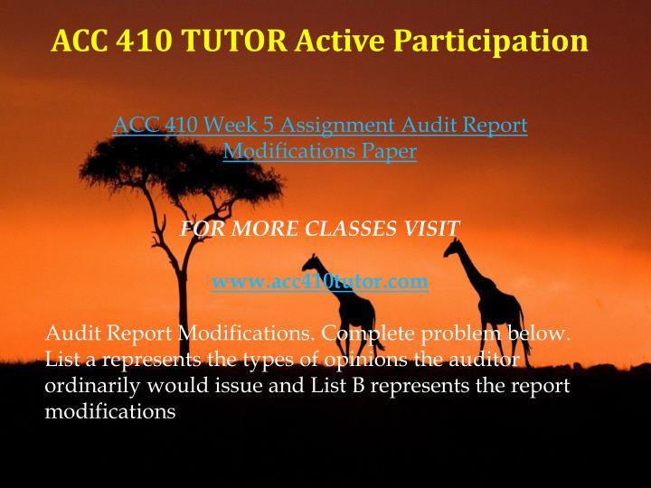 ACC 410 TUTOR Active