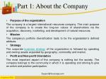 part 1 about the company