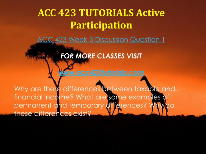 ACC 423 TUTORIALS Active Participation