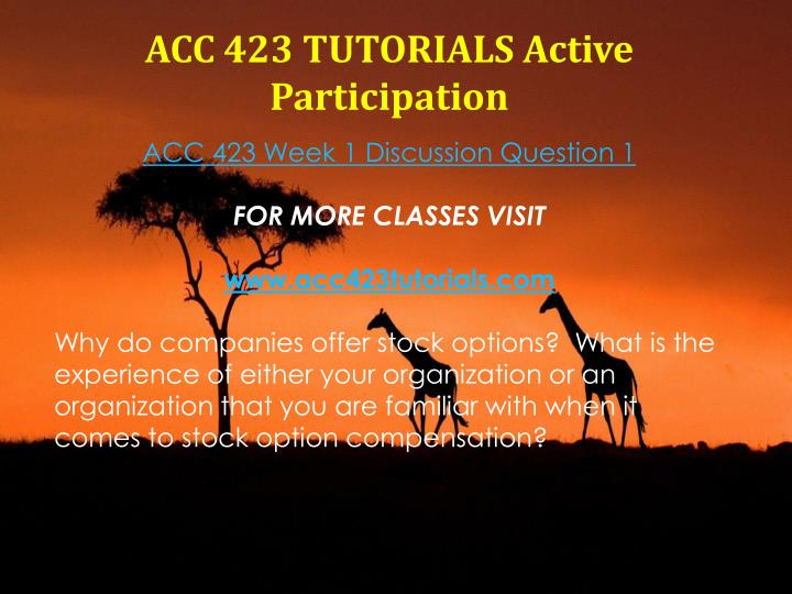 ACC 423 TUTORIALS Active