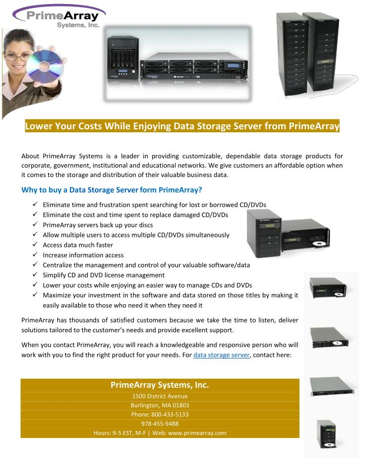 Lower Your Costs While Enjoying Data Storage Server from PrimeArray