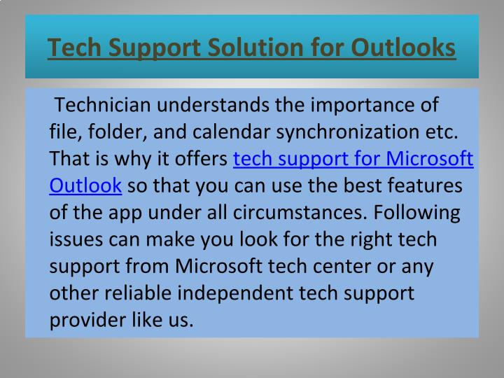 Tech Support Solution for Outlooks