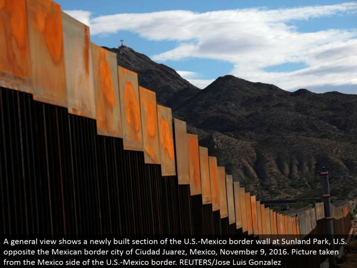 A general view demonstrates a recently assembled area of the U.S.- Mexico outskirt divider at Sunland Park, U.S. inverse the Mexican fringe city of Ciudad Juarez, Mexico, November 9, 2016. Picture taken from the Mexico side of the U.S.- Mexico fringe. REUTERS/Jose Luis Gonzalez