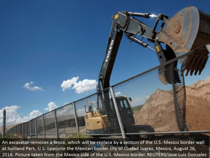 An excavator expels a fence, which will be supplant by a segment of the U.S.- Mexico fringe divider at Sunland Park, U.S. inverse the Mexican fringe city of Ciudad Juarez, Mexico, August 26, 2016. Picture taken from the Mexico side of the U.S.- Mexico fringe. REUTERS/Jose Luis Gonzalez