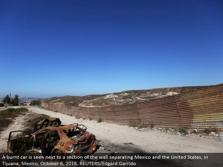 A smoldered auto is seen alongside an area of the divider isolating Mexico and the United States, in Tijuana, Mexico, October 6, 2016. REUTERS/Edgard Garrido