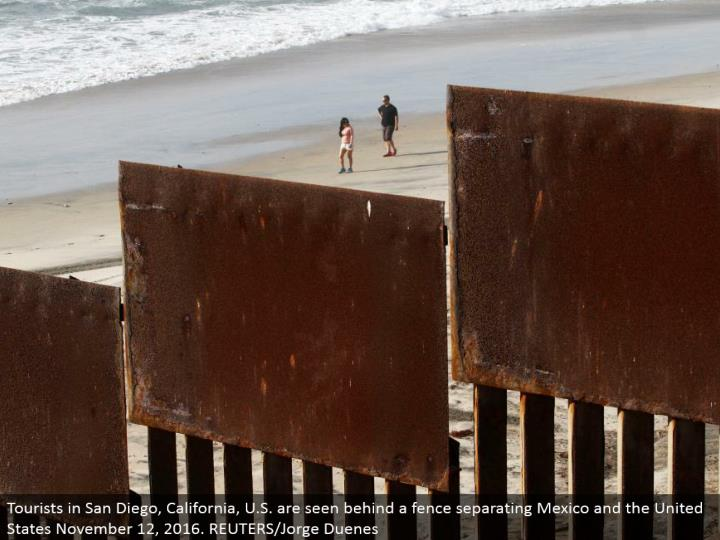 Tourists in San Diego, California, U.S. are seen behind a fence isolating Mexico and the United States November 12, 2016. REUTERS/Jorge Duenes