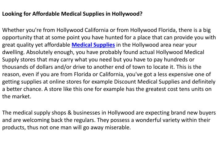 Looking for Affordable Medical Supplies in Hollywood?