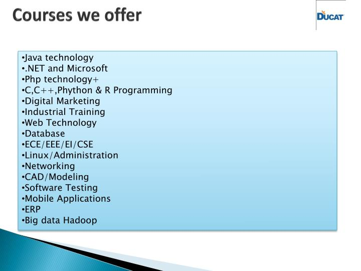 Courses we offer