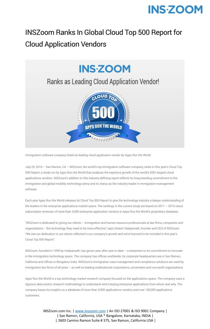 INSZoom Ranks In Global Cloud Top 500 Report for
