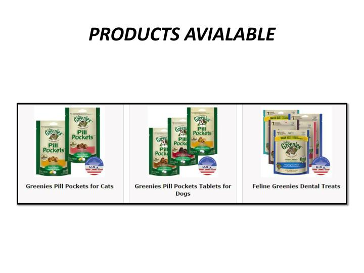 PRODUCTS AVIALABLE