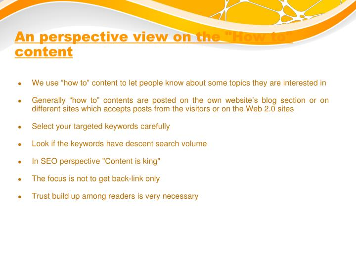"An perspective view on the ""How to"" content"