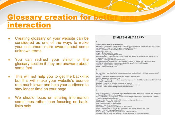 Glossary creation for better user interaction