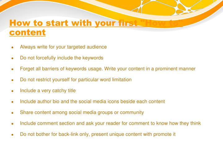 "How to start with your first ""How to"" content"