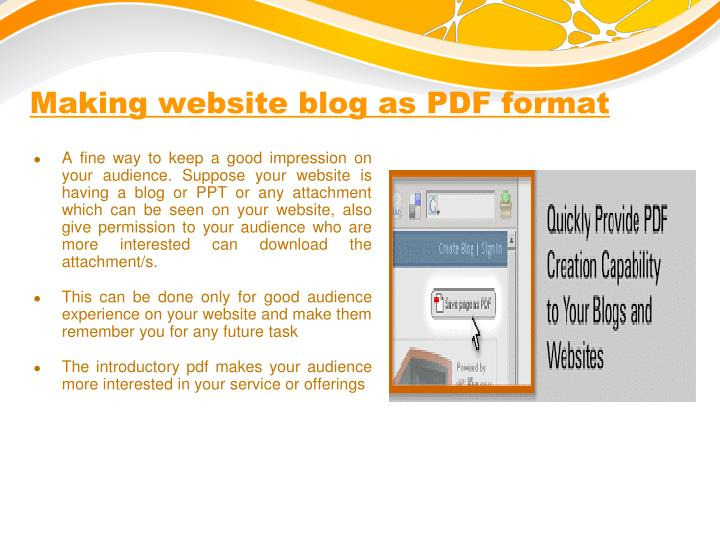Making website blog as PDF format
