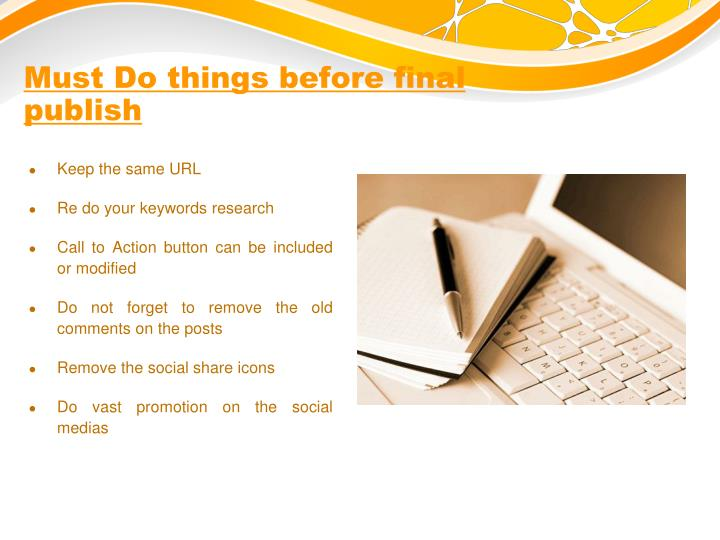Must do things before final publish