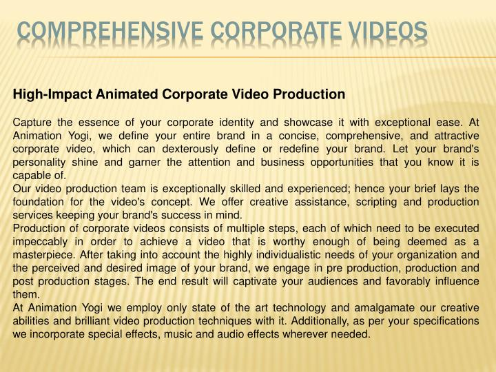Comprehensive Corporate Videos